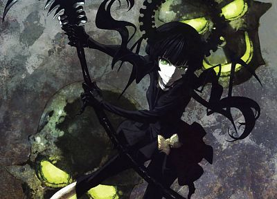 skulls, Black Rock Shooter, Dead Master, horns, green eyes, Yomi - random desktop wallpaper