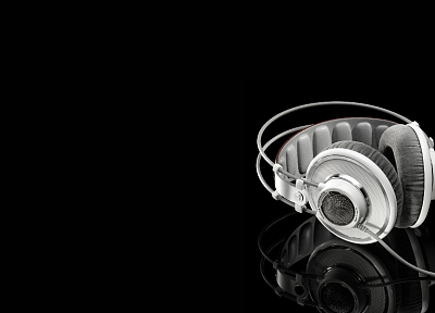 headphones, music, grayscale, earphones, monochrome, black background - random desktop wallpaper