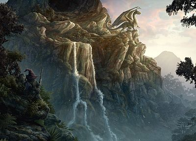 landscapes, CGI, fantasy art, Kerem Beyit, waterfalls - random desktop wallpaper