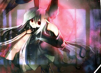 video games, Touhou, school uniforms, tie, animal ears, red eyes, Reisen Udongein Inaba, bunny ears - random desktop wallpaper