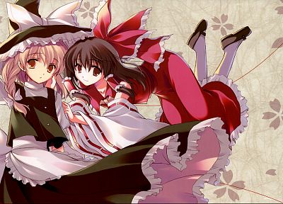 witch, Touhou, Miko, Kirisame Marisa, Hakurei Reimu, detached sleeves - random desktop wallpaper