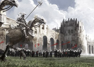 clouds, castles, birds, knights, armor, Chocobo, riding, Chocobo Knight - related desktop wallpaper