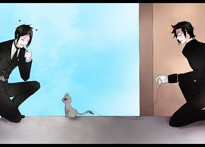 cats, suit, Kuroshitsuji, Sebastian Michaelis, anime, Claude Faustus, white gloves - desktop wallpaper