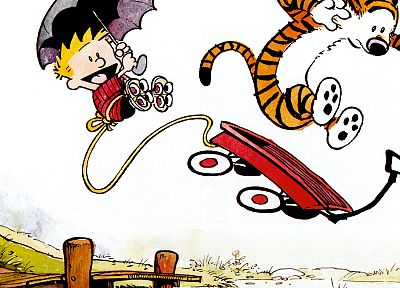 jumping, Calvin and Hobbes, rollerskates, umbrellas, ropes - random desktop wallpaper