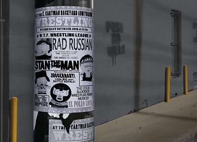 South Park, wrestling, Eric Cartman, Stan Marsh, posters, Kenny McCormick, Kyle Broflovski - random desktop wallpaper