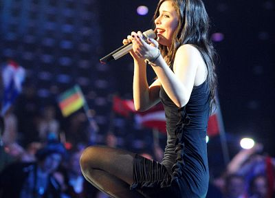 brunettes, women, pantyhose, high heels, singers, Lena Meyer-Landrut, Eurovision Song Contest - desktop wallpaper
