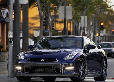 blue, cityscapes, cars, Nissan, Dark blue, Nissan Skyline GT-R, Nissan GT-R R35, front angle view - related desktop wallpaper