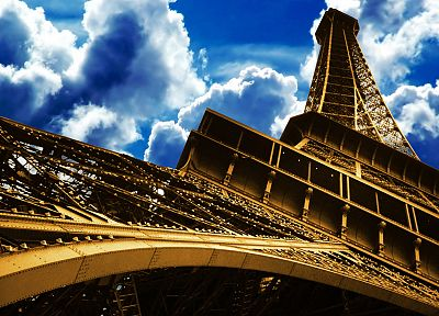 Eiffel Tower, clouds, skyscapes - random desktop wallpaper
