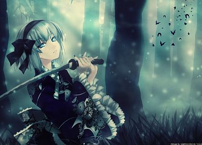 women, blue eyes, katana, weapons, anime, white hair, swords, dark lady, fur cap - desktop wallpaper