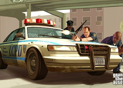 video games, Grand Theft Auto, police cars, Grand Theft Auto IV, GTA IV - related desktop wallpaper