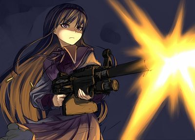 brunettes, guns, weapons, Mahou Shoujo Madoka Magica, anime, Akemi Homura, purple eyes, simple background, anime girls, M249, muzzle flash - random desktop wallpaper