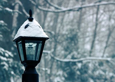 winter, snow, lamp posts - random desktop wallpaper