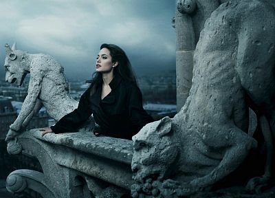 Angelina Jolie, gargoyle - random desktop wallpaper