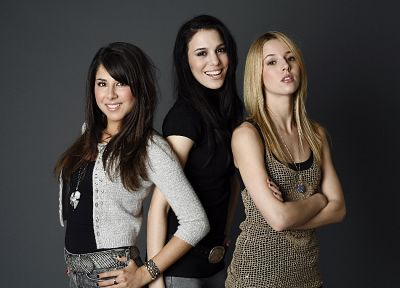 brunettes, blondes, women, Alona Tal, Daniella Monet, Christy Carlson Romano - random desktop wallpaper