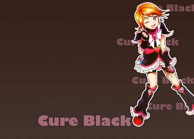 Pretty Cure, anime, simple background, Cure Black - related desktop wallpaper