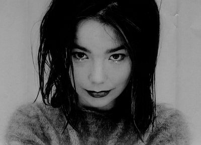 brunettes, women, actress, tears, Björk, grayscale - desktop wallpaper