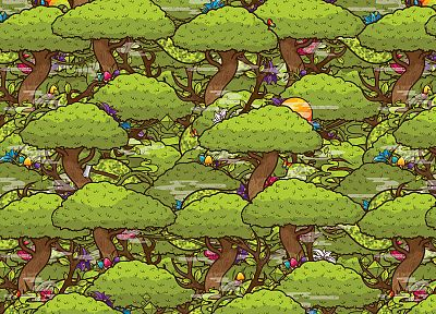 trees, flowers, mushrooms, artwork, JThree Concepts, vector art, Jared Nickerson - related desktop wallpaper