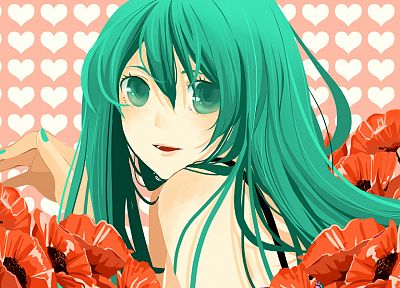 Vocaloid, flowers, Hatsune Miku, aqua eyes, aqua hair, anime girls - desktop wallpaper