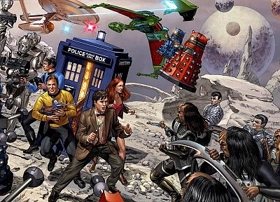 Star Trek, TARDIS, Spock, Amy Pond, James T. Kirk, Klingons, USS Enterprise, Doctor Who, Alien, Daleks, Romulans - related desktop wallpaper