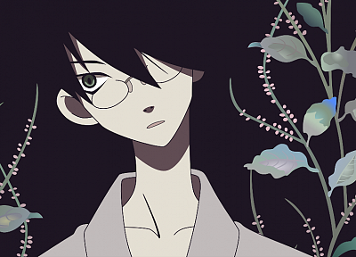 Sayonara Zetsubou Sensei, glasses, plants, green eyes, short hair, open mouth, anime boys, Itoshiki Nozomu, Japanese clothes, simple background, faces, black background, collar bone, black hair, head tilt - random desktop wallpaper