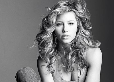 women, white, gray, cleavage, models, Jessica Biel, grayscale, monochrome - related desktop wallpaper