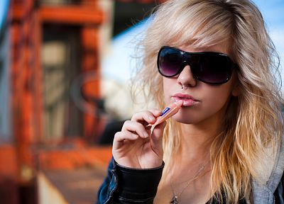 blondes, women, sunglasses, nose ring - related desktop wallpaper