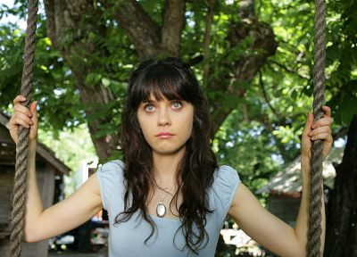 women, trees, Zooey Deschanel - related desktop wallpaper