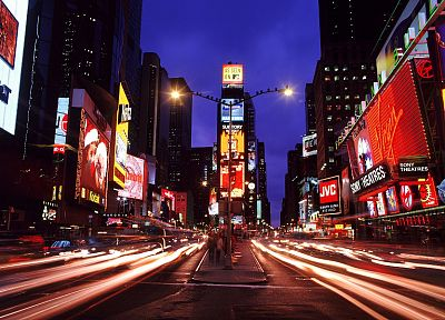cityscapes, streets, buildings, New York City, Times Square, long exposure, cities - related desktop wallpaper