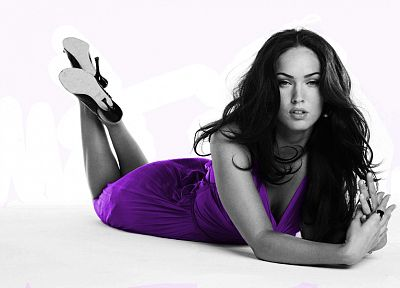 brunettes, women, Megan Fox, actress, models, celebrity, selective coloring - related desktop wallpaper