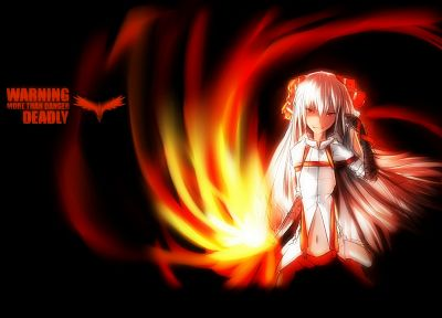 flames, Touhou, black, dark, fire, long hair, Fujiwara no Mokou, red eyes, bows, white hair, anime girls - desktop wallpaper