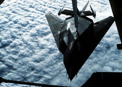 clouds, aircraft, Lockheed F-117 Nighthawk, refueling - desktop wallpaper