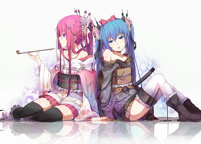 Vocaloid, flowers, Hatsune Miku, blue eyes, Megurine Luka, Japanese, long hair, kimono, blue hair, pink hair, thigh highs, twintails, pipes, ponytails, purple eyes, Japanese clothes - related desktop wallpaper