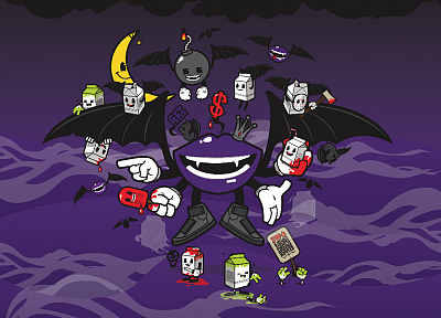 bombs, lips, crowns, fangs, popsicles, JThree Concepts, purple background, vector art, bat wings, dollar sign, Jared Nickerson - related desktop wallpaper