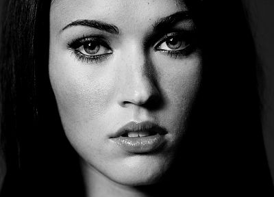 brunettes, women, Megan Fox, actress, celebrity, monochrome - desktop wallpaper