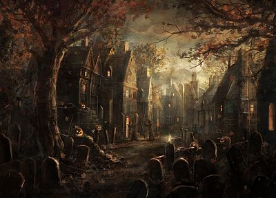 autumn, Halloween, houses, tombstones, nighttime, cemetery, Radojavor - related desktop wallpaper