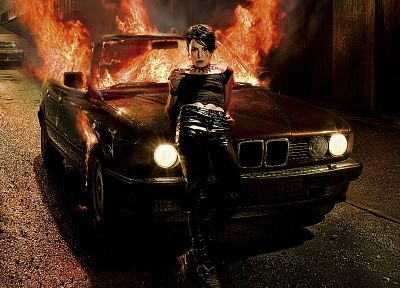 cars, fire, Noomi Rapace, Lisbeth Salander - random desktop wallpaper
