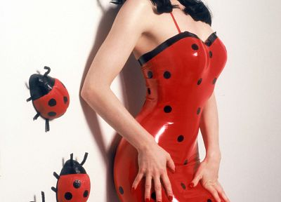 brunettes, women, Dita Von Teese, latex, standing, polka dots, latex dress, lady bugs - random desktop wallpaper