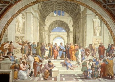 paintings, artwork, The School of Athens, classic art, Raphael (painter), philosophers - random desktop wallpaper