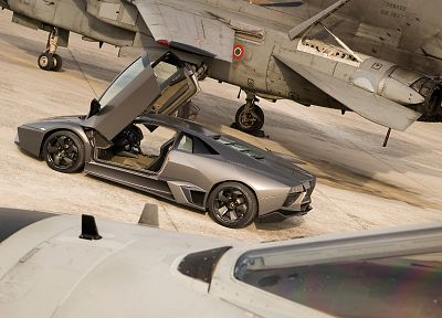 cars, Lamborghini, vehicles, jet aircraft, Lamborghini Reventon, side view, open doors, fighter jets - related desktop wallpaper