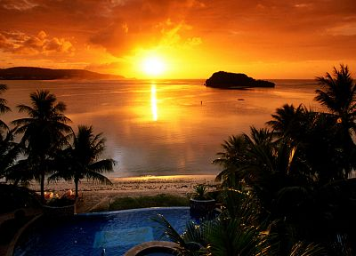 sunset, sunrise, Sun, palm trees, swimming pools - related desktop wallpaper