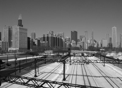 grayscale, railroad tracks - random desktop wallpaper