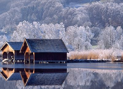 winter, snow, trees, houses, lakes, reflections - desktop wallpaper