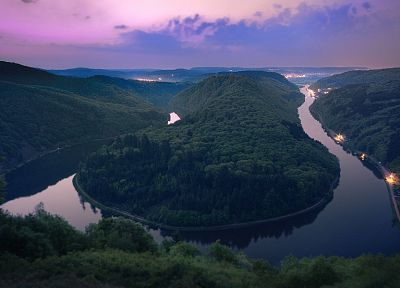 landscapes, nature, forests, Germany, rivers, Saarschleife - related desktop wallpaper