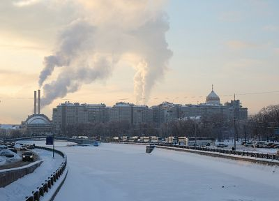 winter, snow, cityscapes, buildings, rivers - related desktop wallpaper