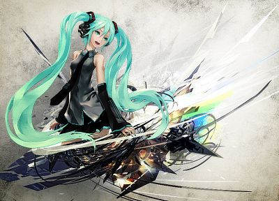 Vocaloid, Hatsune Miku, twintails, Redjuice, detached sleeves - random desktop wallpaper