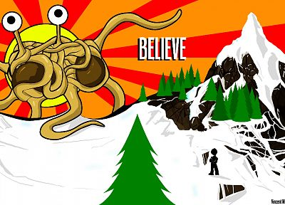 flying spaghetti monster - desktop wallpaper