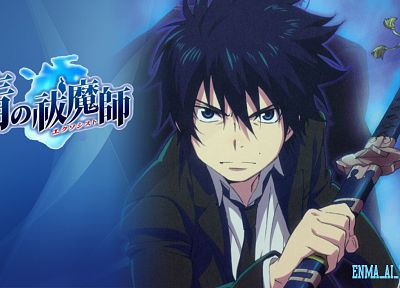 school uniforms, anime, anime boys, Ao no Exorcist, Okumura Rin, swords - related desktop wallpaper
