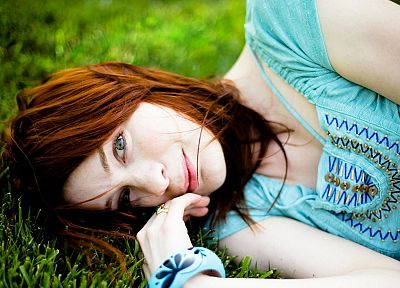 women, redheads, grass, Felicia Day, shirts - desktop wallpaper