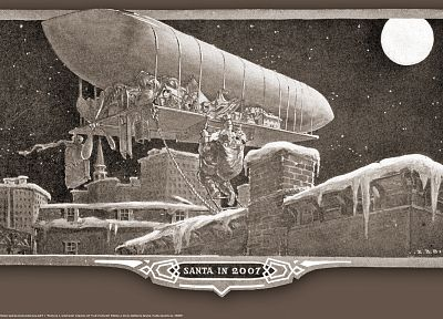 Santa Claus, vehicles, airship - desktop wallpaper