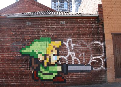 Link, graffiti, The Legend of Zelda, street art, brick wall - desktop wallpaper
